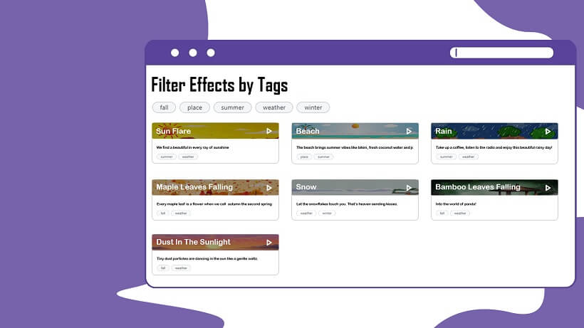 Easily search for your favorite effects by tags
